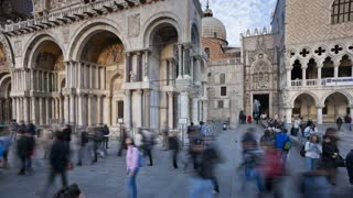 Panning T/L San Marco, Tourists in front of the Basilica di San Marco and Ducal Palace, Venice, Veneto, Italy