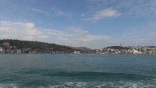 Panning Toward Busy Bridge Over Bosphorus