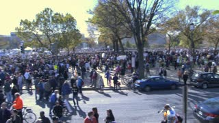 Panning View of Rally Crowd