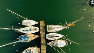 panorama horizon. aerial view.water lake.sailboats dock pier