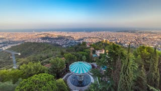 Panorama of Barcelona timelapse from Mount Tibidabo before sunset. Catalonia, Spain. Shadow move over the city. 4K