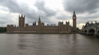 Parliament Building With Big Ben On Thames River
