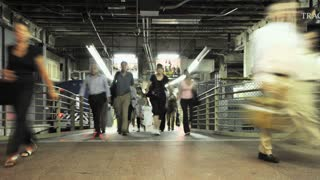 Passengers Exiting Train Platform Time Lapse