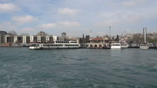 Passing by Ferry Dock on Bosphorus