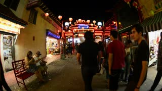 Pedesrians In Chinatown Timelapse
