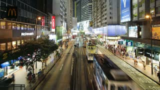 Pedestrians and traffic on Hennessy Road near Times Square, Wan Chai, Hong Kong Island, Hong Kong, China, T/lapse