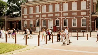 Pedestrians Walking Outside Independence Hall