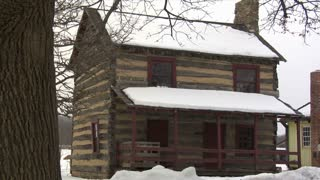 Pennsylvania Log House Snow