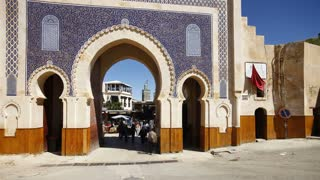 People at the entrance to the Medina, the old city of Fez, Morocco - T/Lapse