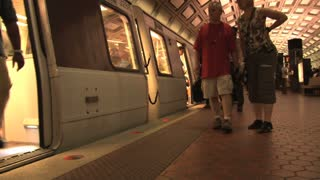 People Boarding DC Metro Train
