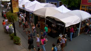 People Browse Arts Festival In Park City Utah