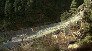 People Crossing Over a Rope Bridge