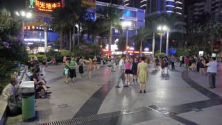 People Dancing in Street in China