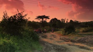 People Experiencing Morning Bustle in Kenya