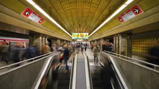 People in a Underground Station in Prague, Czech Republic, Europe, T/Lapse