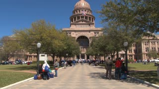 People Outside Texas State Capitol