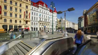 People using the Escalator to and from the Metro, Prague, Czech Republic, Europe, T/Lapse