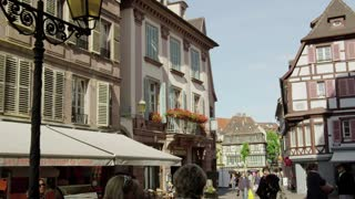 People Walking Along Colmar Alsace France Street