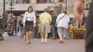 People Walking Boston Marketplace