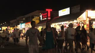 People Walking on Ocean City Maryland Boardwalk at Night 2