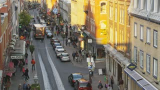 People Walking on Side Street in Quebec City