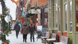 People Walking Telluride Sidewalk in Snow