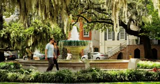 People Walking Through Savannah Square