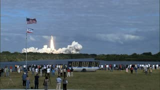 People Watching Atlantis Take Off From Kennedy Space Center