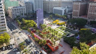 Pershing Square in Downtown Los Angeles Day Timelapse