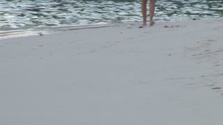Person Walking Along Bermuda Shoreline