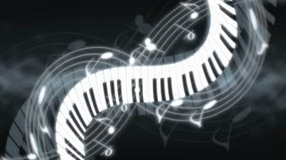 Piano Twisting Through Musical Notes