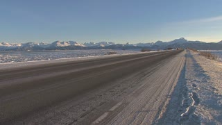 Pickup Zooms Down Frozen Homer Spit Road
