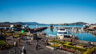 Pier 39 And Alcatraz Island Timelapse