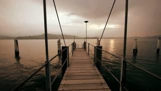 pier bridge lake view sunset carefree