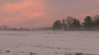 Pink Sky Behind Snowy Field