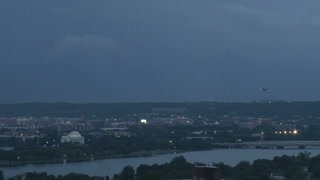 Plane flies through lightning strike over Jefferson Memorial