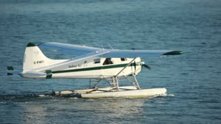 Plane floating in the water