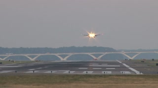 Plane Landing Slowly on Runway