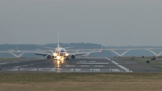 Plane Turning on Runway