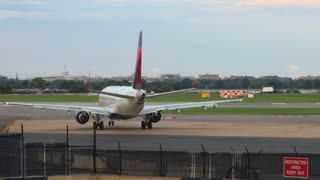Plane Waiting to Take Off at DC Airport