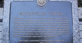 Plaque and Courtyard in Rockefeller Center