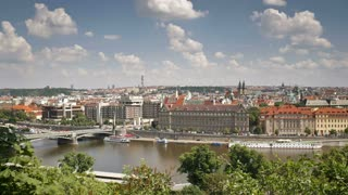 Pleasure boats on the  River Vitava, Prague, Czech Republic, Europe, T/Lapse
