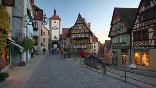 Plonlein (little square) with Sieber Tower and Kobolzeller Tower, day to night, Rothenburg ob der Tauber, Franconia, Bavaria, Germany