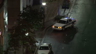 Police Car Flashing Lights Next to DC Sidewalk