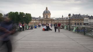 Pont des Arts, with the Institut de France & Left Bank of the Seine, Paris, France - T/lapse