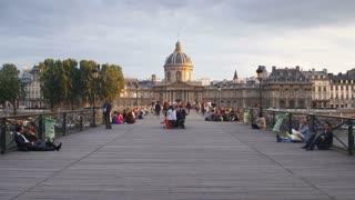 Pont des Arts, with the Institut de France & Left Bank of the Seine, Paris, France - T/lapse