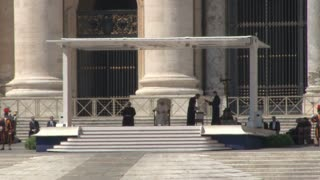 Pope on Steps of St. Peters Basilica