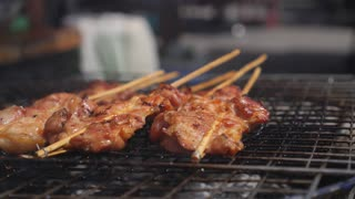 Pork Barbecue Frying on Grille Outdoors. Thai Street Food