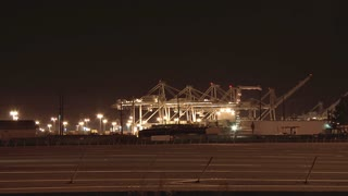 Port of Oakland at Night Across Freeway