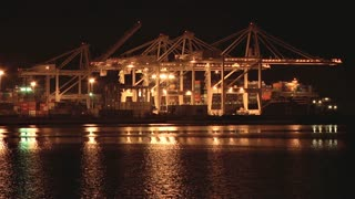 Port of Oakland Gantry Cranes at Night